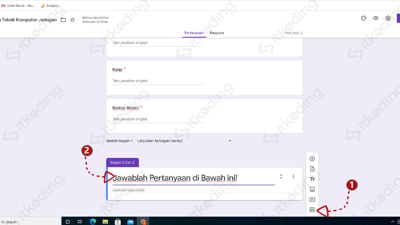 Tombol untuk membuat bagian baru di google form