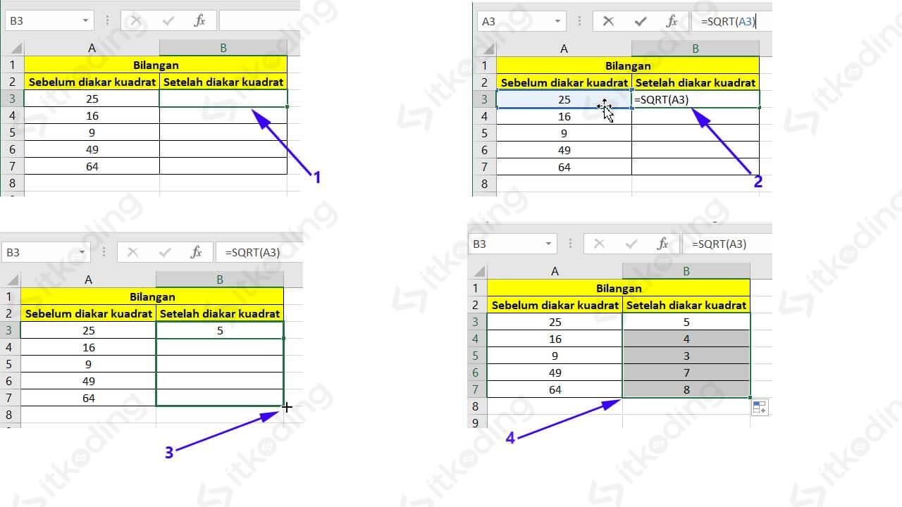 Contoh mencari akar kuadrat dengan rumus sqrt excel