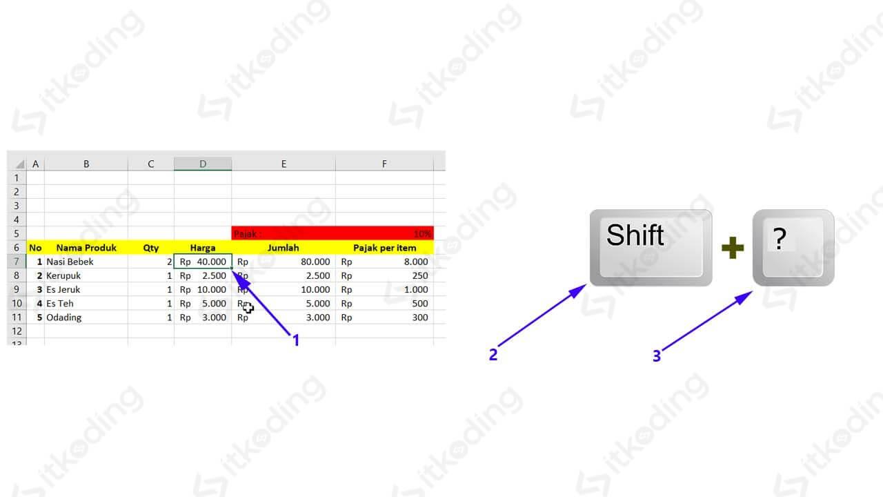 Langkah memilih range dengan kombinasi keyboard