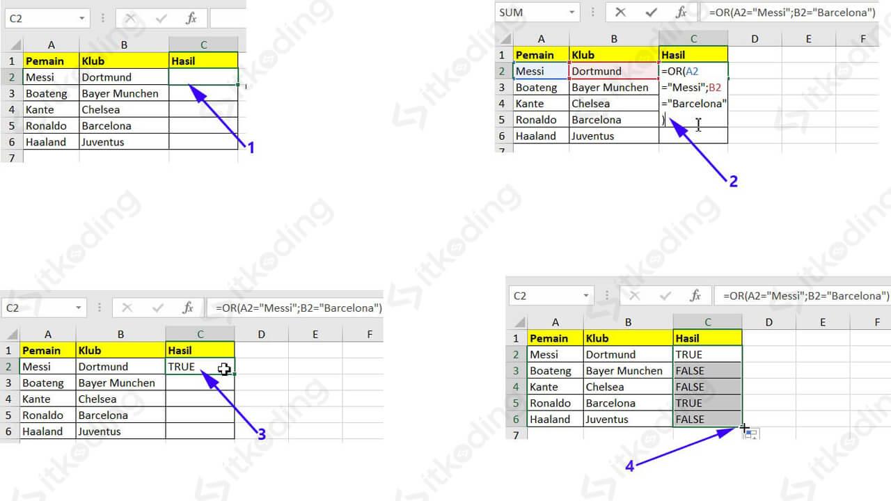 Contoh membandingkan sel dengan teks dan fungsi or excel