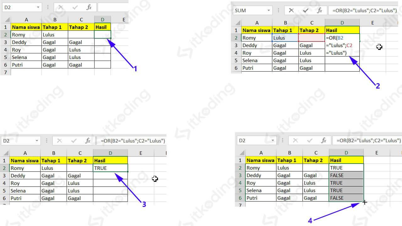 Contoh menampilkan hasil kelulusan dengan fungsi or di excel