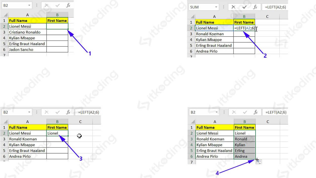 Contoh mengambil karakter dari kiri dengan fungsi left excel