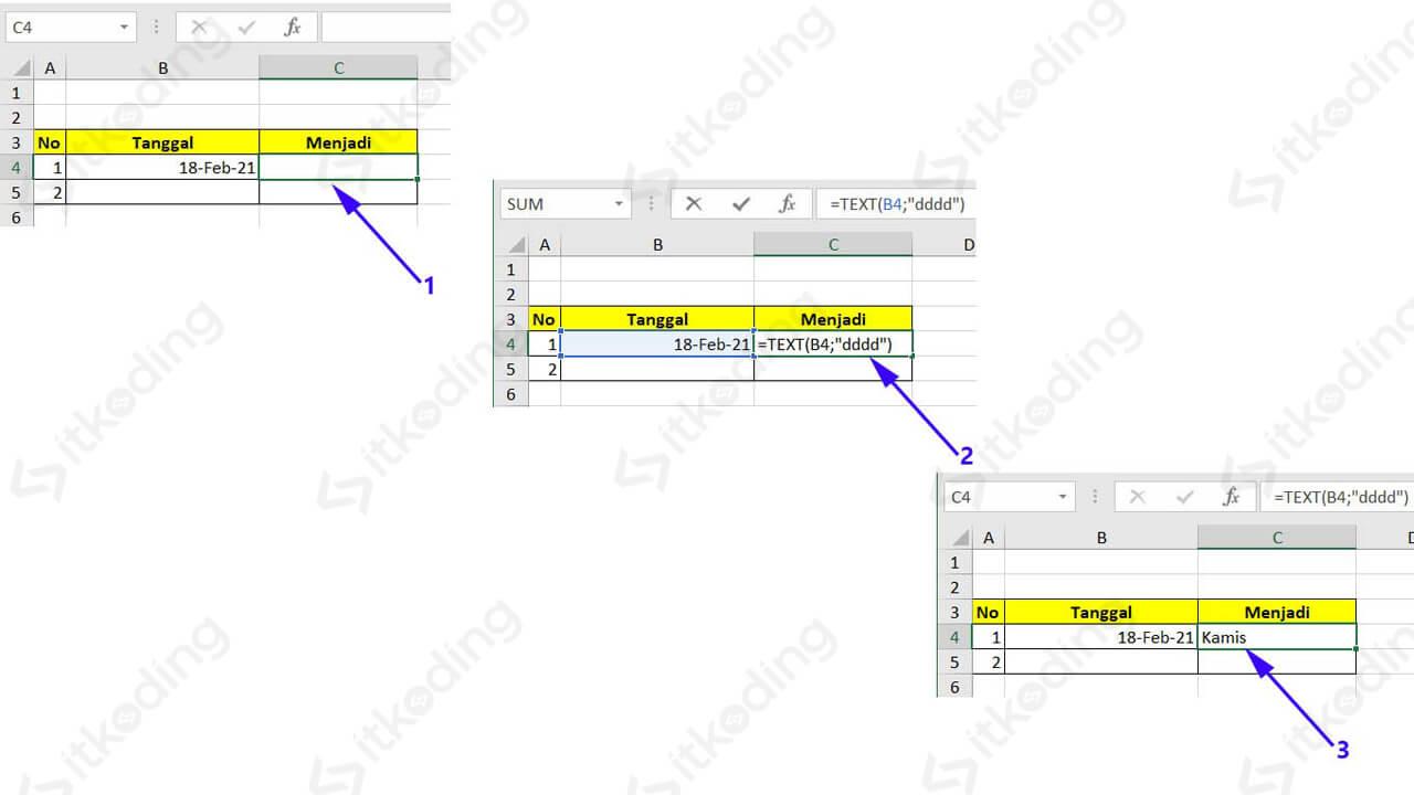 Contoh mengganti format tanggal dengan fungsi text