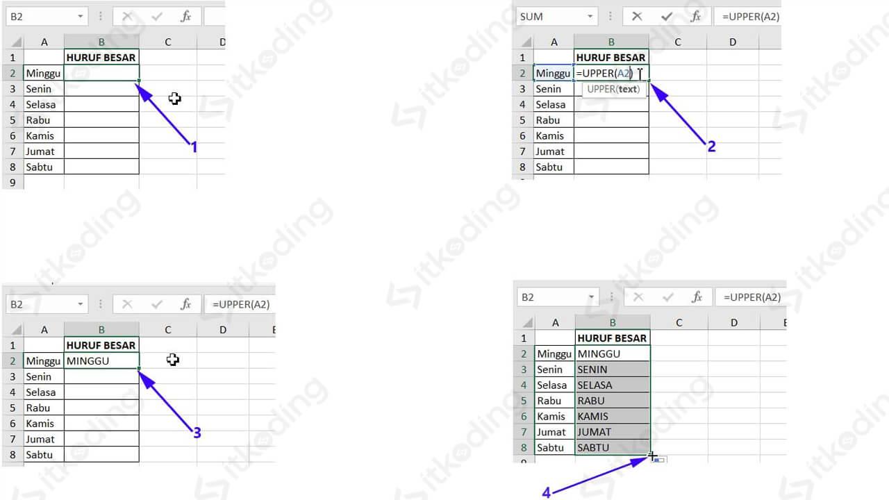 Contoh mengubah huruf kecil ke besar dengan fungsi upper excel