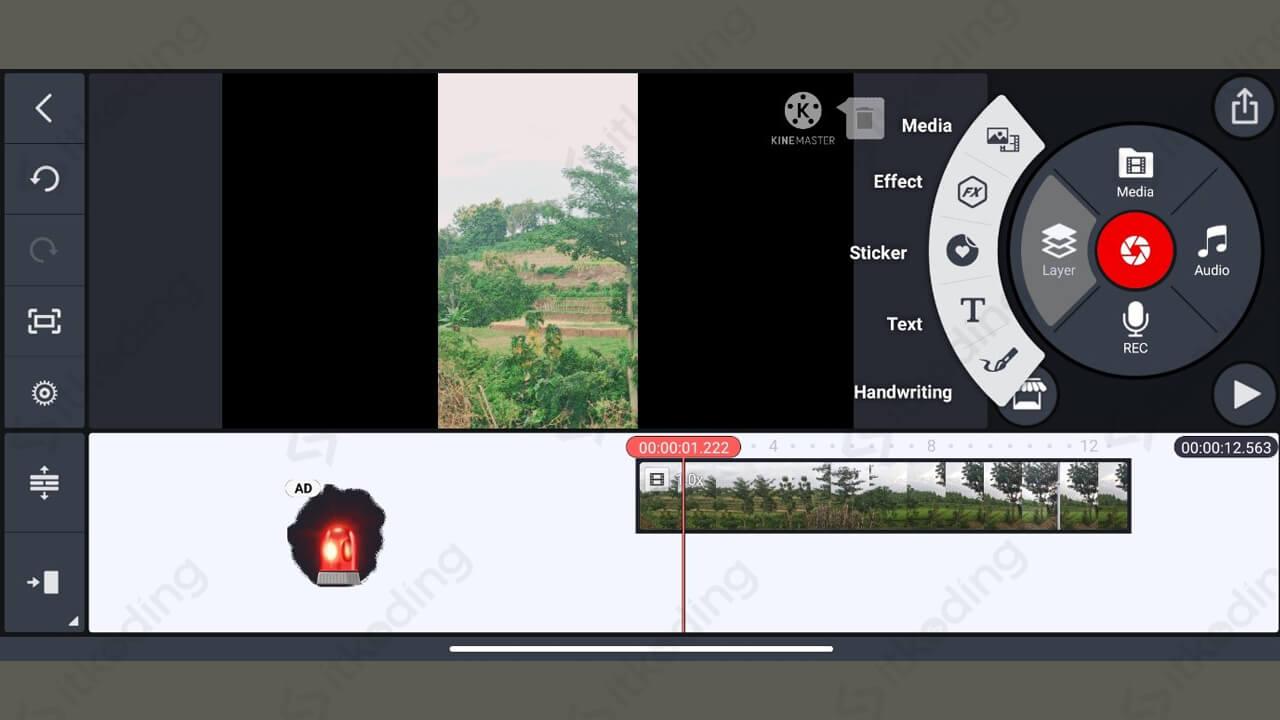 Menu tambah teks video di kinemaster