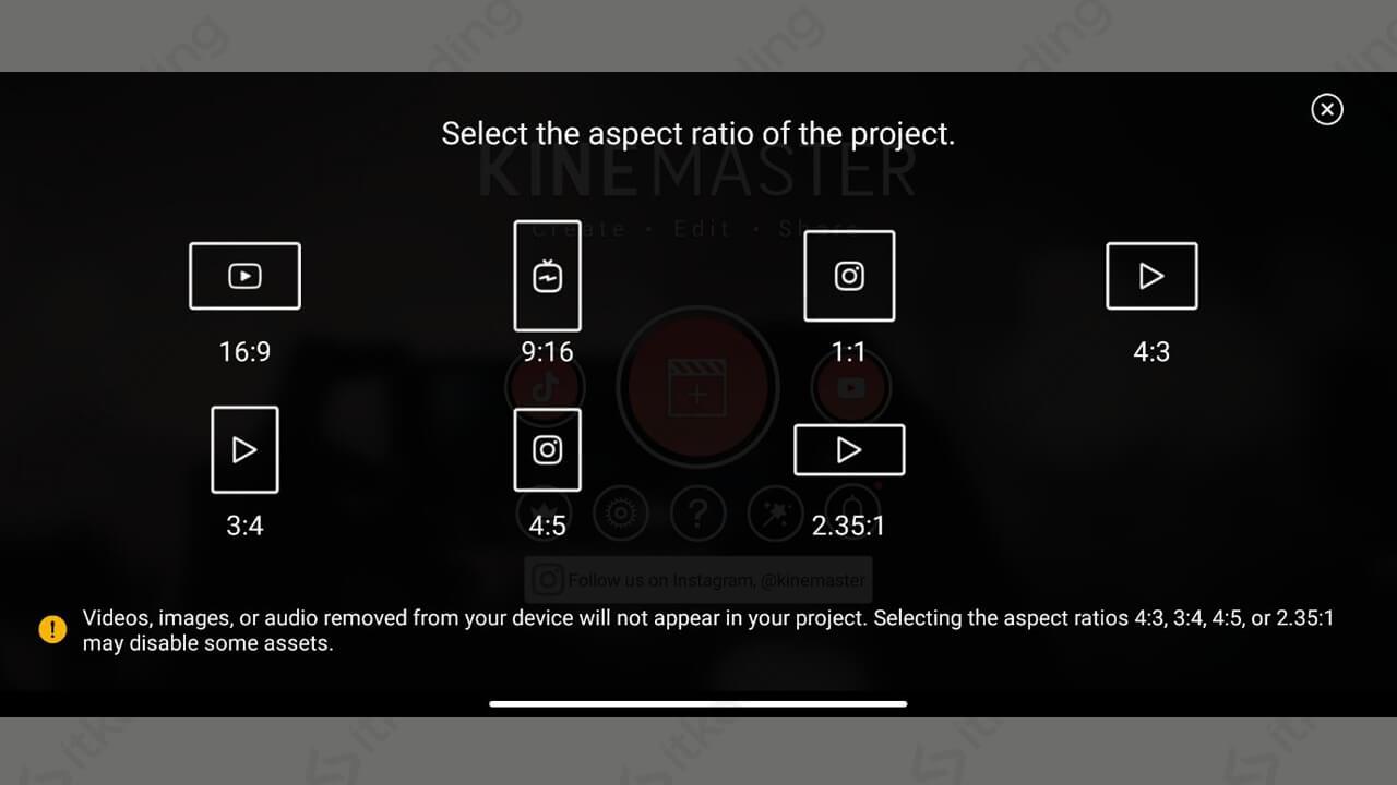 Pilihan aspek rasio pada kinemaster