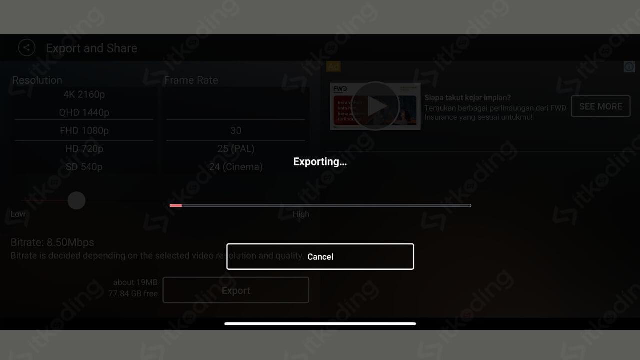 Tampilan proses export video kinemaster