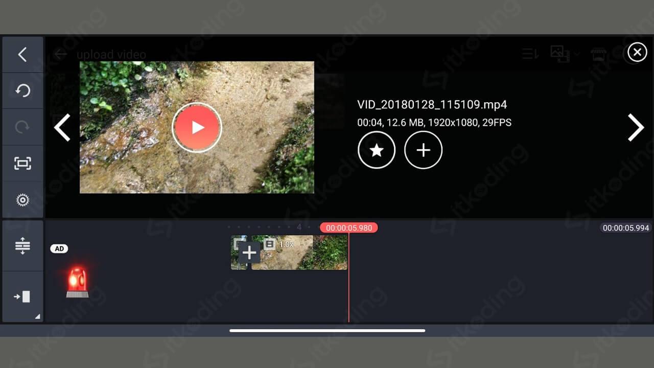 Tombol pemilihan video di kinemaster