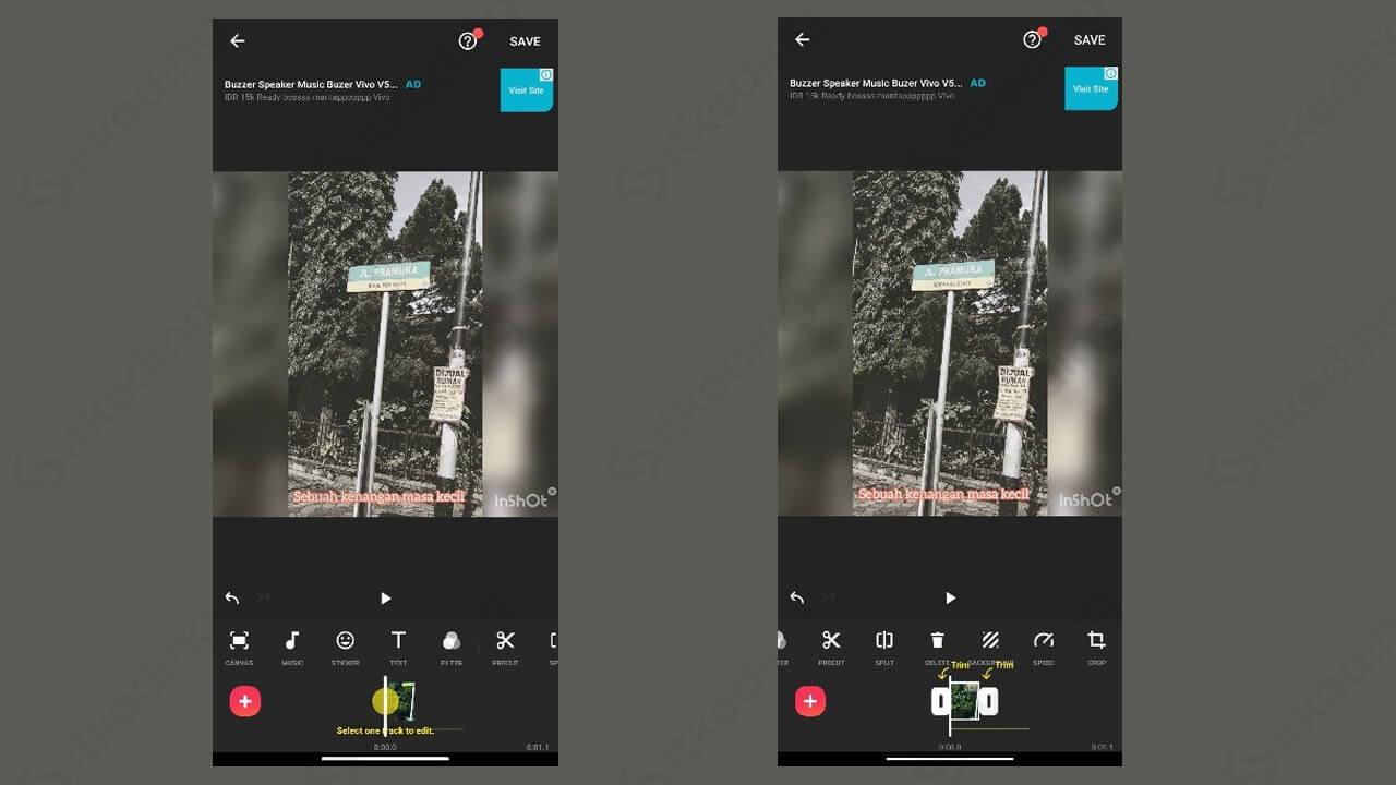Memotong video di inshot