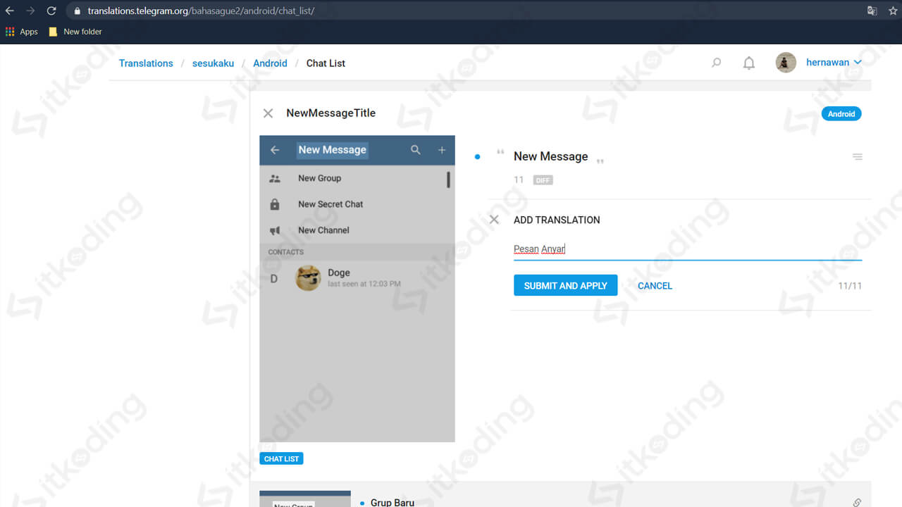 Mengubah setlang di telegram