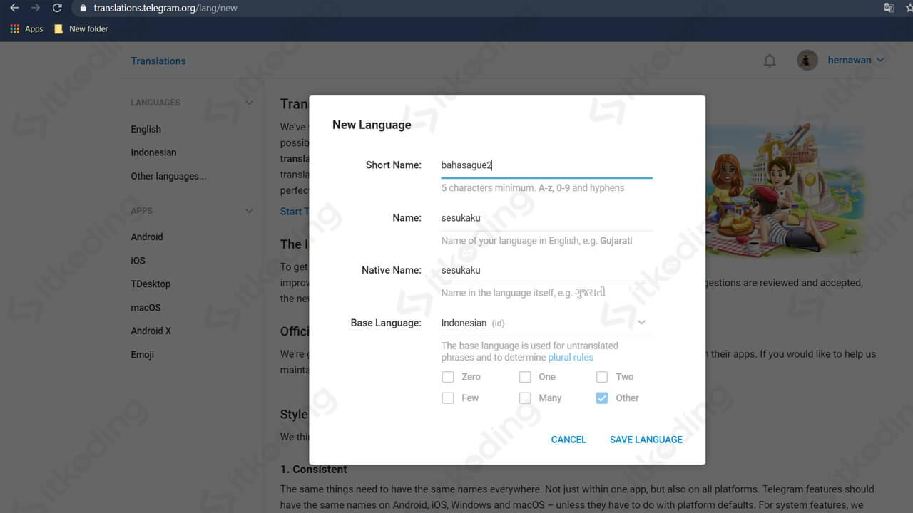 Menu bahasa baru pada web telegram