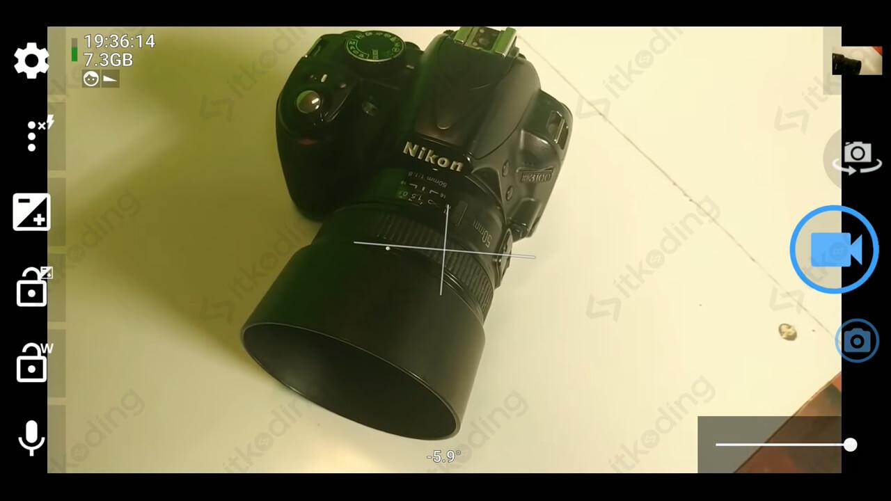 Tampilan aplikasi open camera