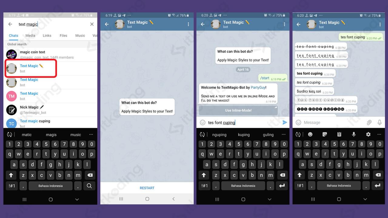 Tampilan bot text magic di telegram