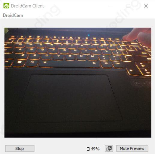 Tampilan kamera hp di webcam laptop