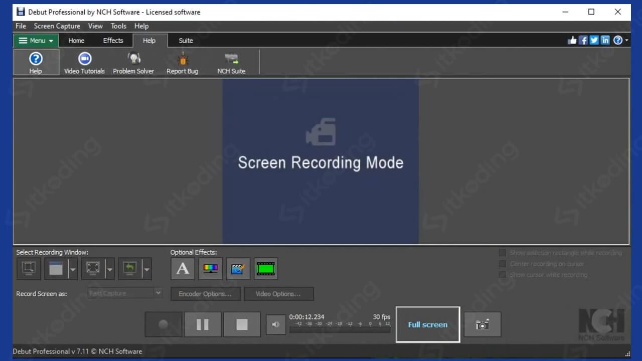 Tampilan software debut video capture