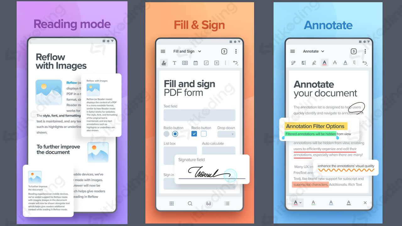 Fitur pada aplikasi xodo pdf reader android