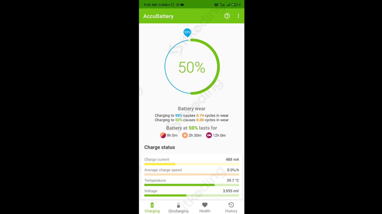 Informasi status baterai pada accubattery