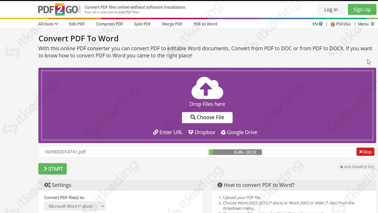 Menu convert pdf ke word di pdf2go