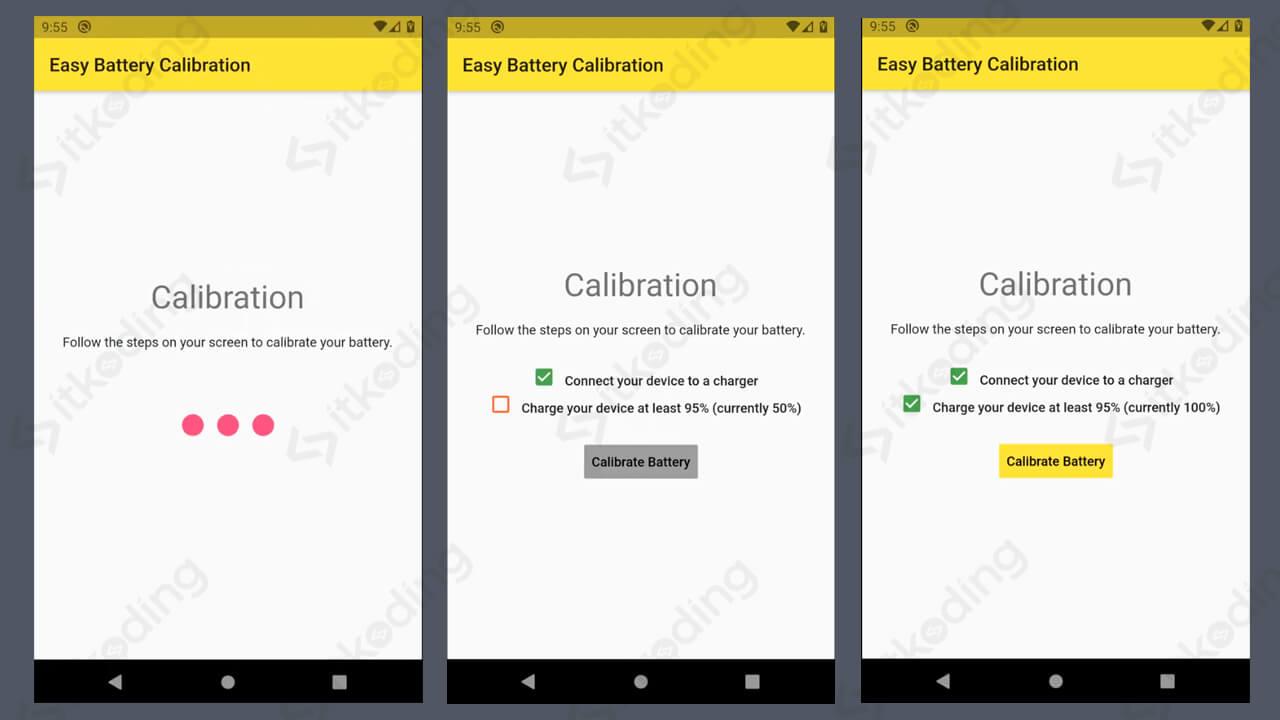Tampilan aplikasi easy battery calibration