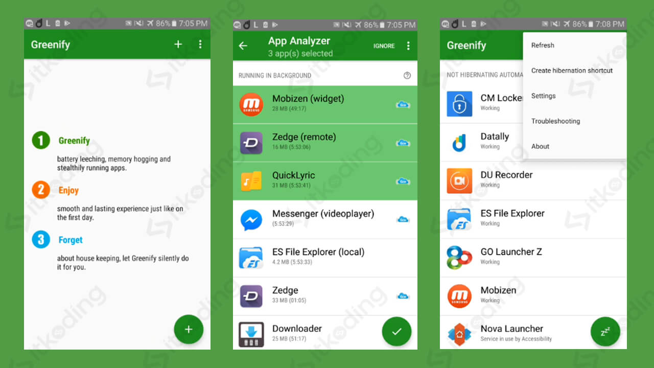 Tampilan aplikasi greenify