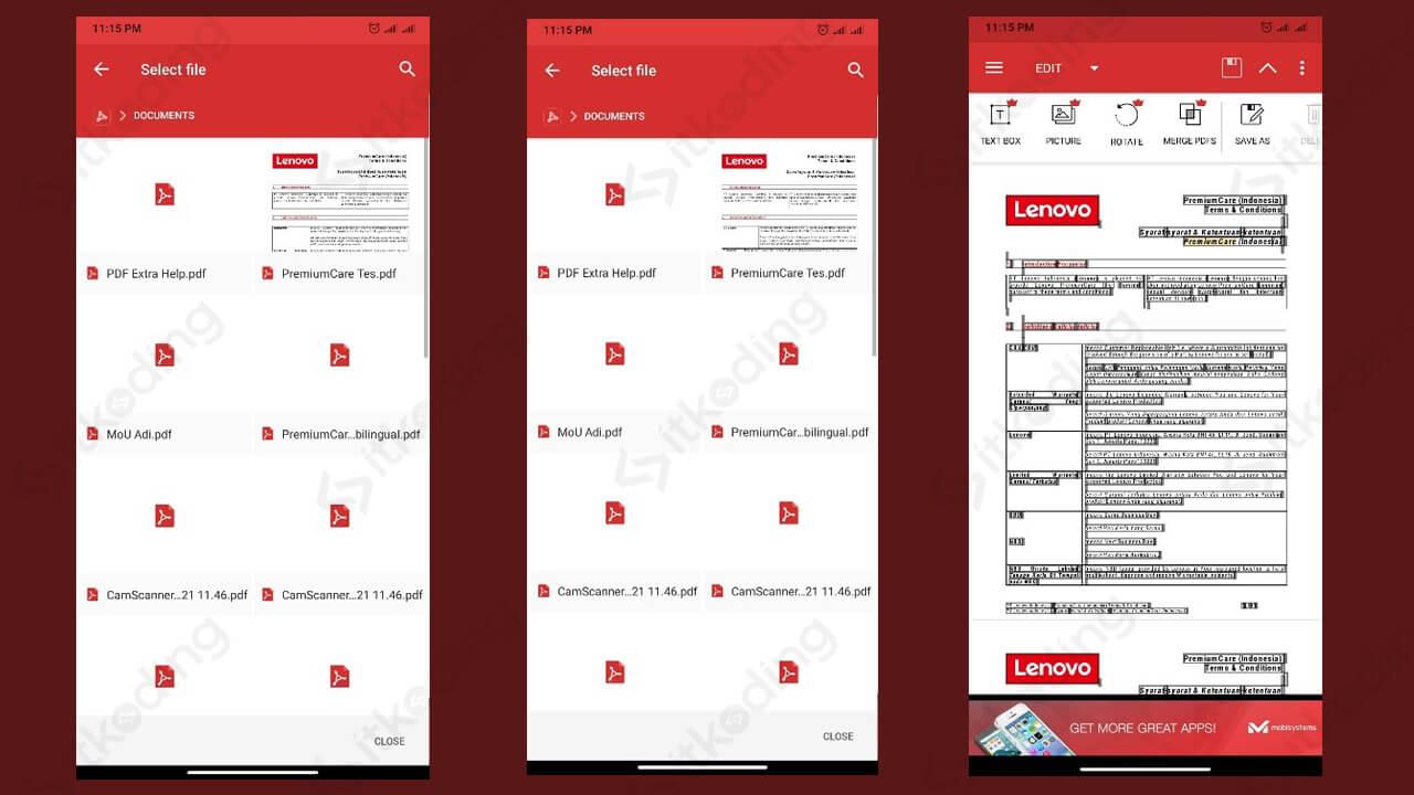 Tampilan aplikasi pdf extra