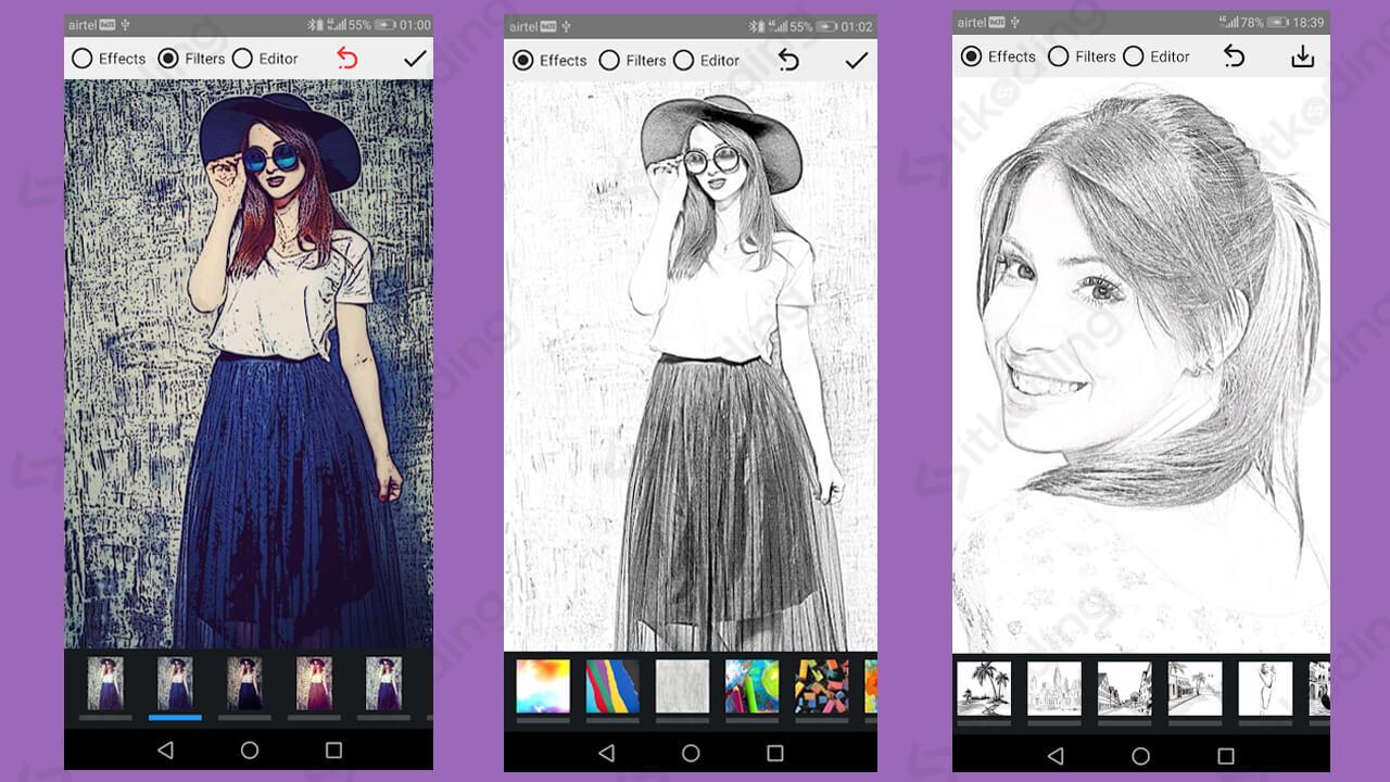 Tampilan aplikasi pencil photo sketch