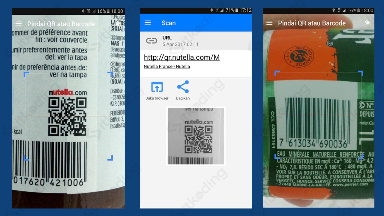 Tampilan aplikasi qr barcode scanner di android