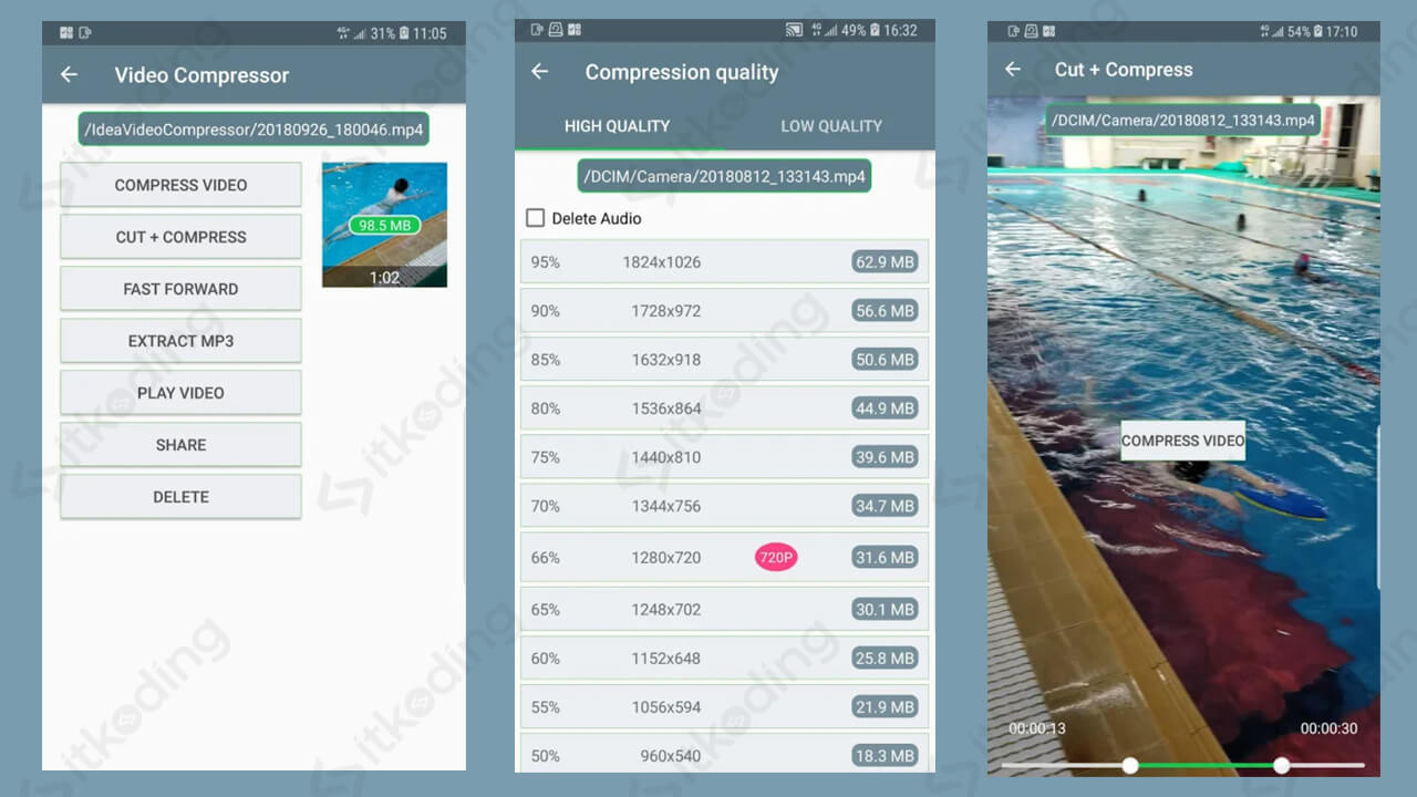 Tampilan aplikasi video compressor android