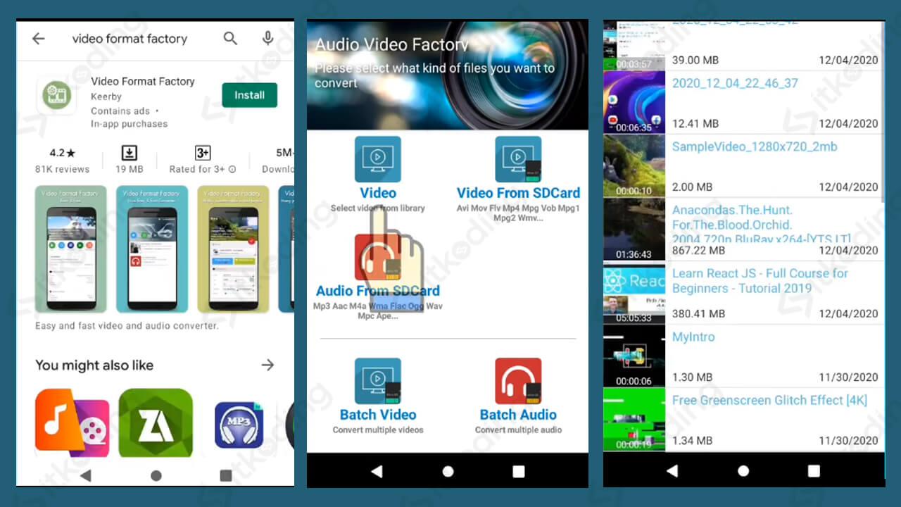 Tampilan aplikasi video format factory android