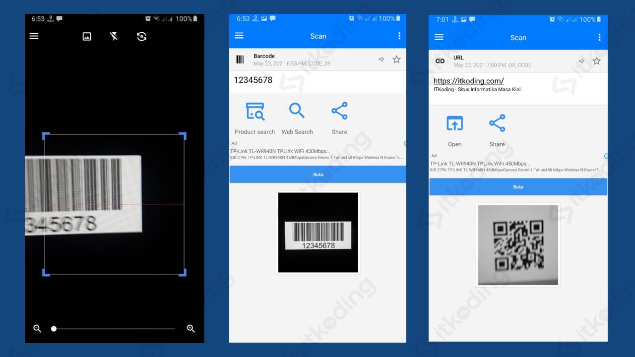 Tampilan kamera aplikasi qr barcode scanner android