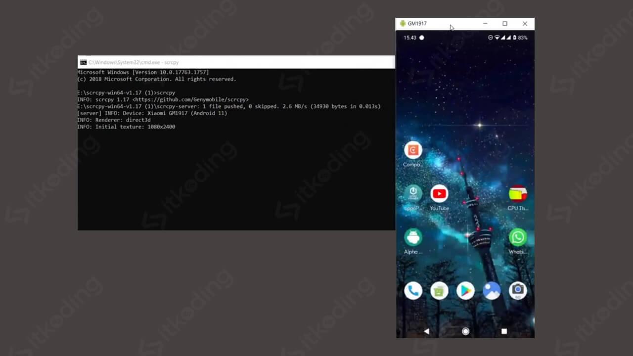 Tampilan scrcpy android pada cmd dan hp