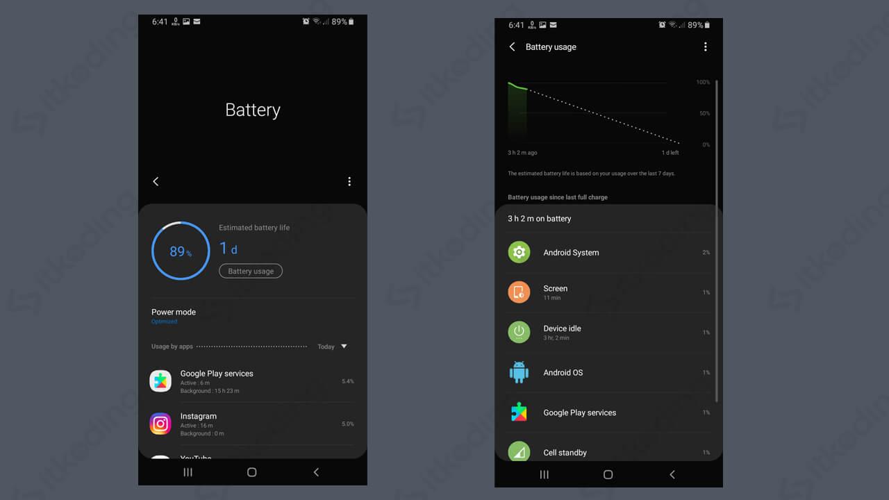 Tampilan status baterai di android