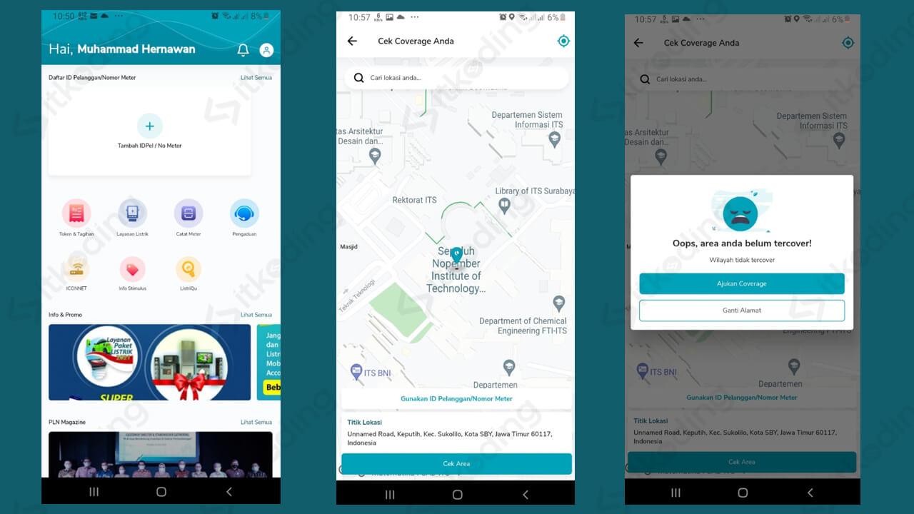 Menu cek coverage di aplikasi pln mobile