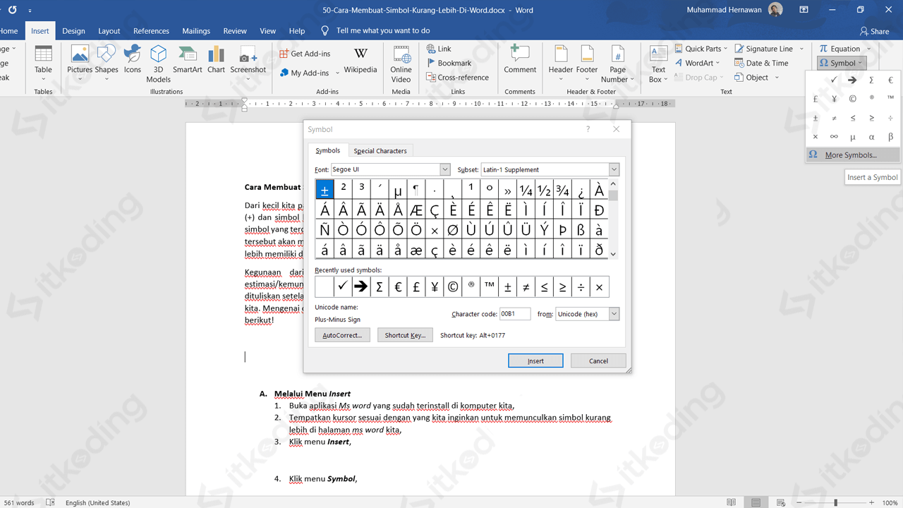 Tanda kurang lebih pada menu symbol di ms word