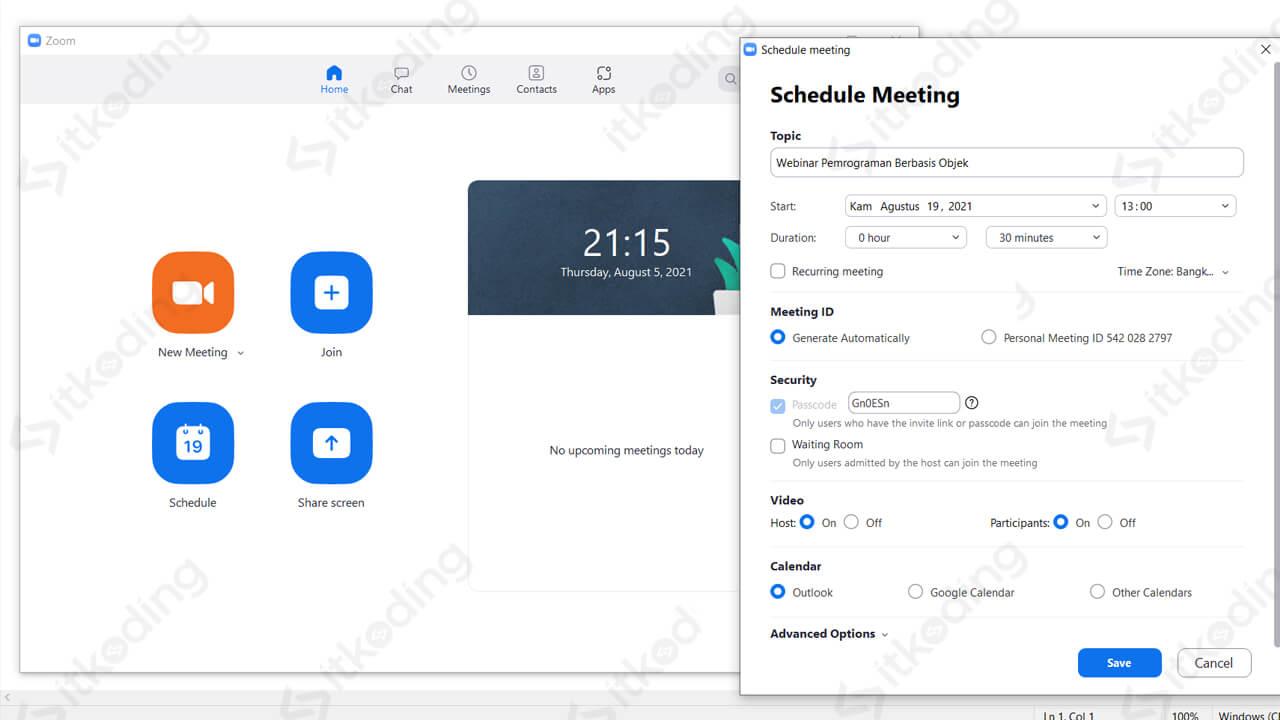 Pengaturan schedule meeting di zoom laptop