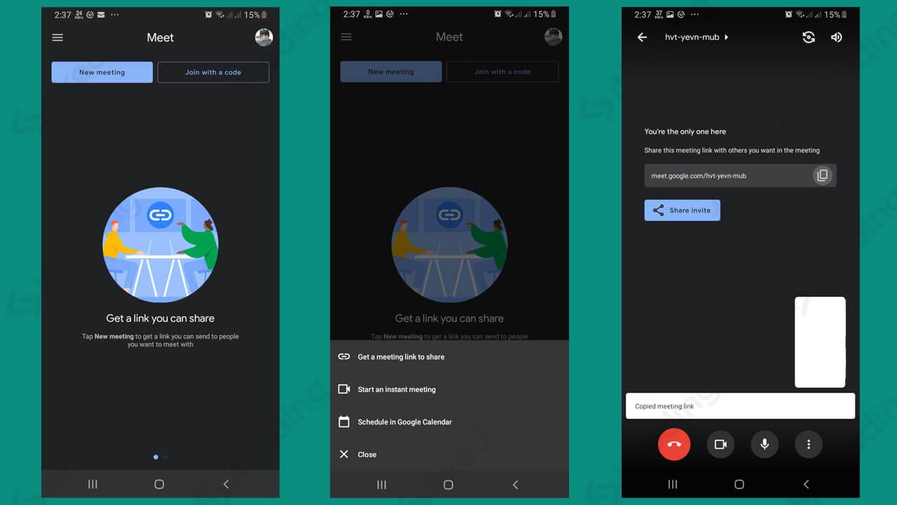 Pilihan menu meeting pada google meet di hp