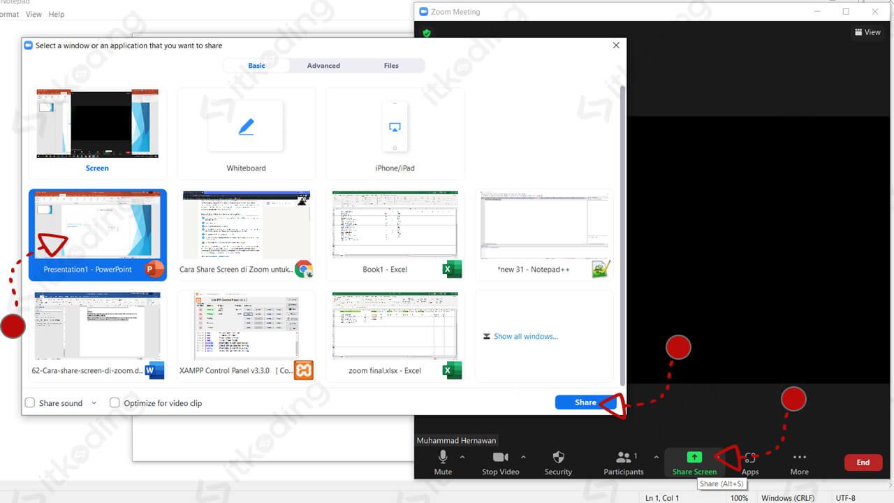 Tampilan share screen ppt di zoom laptop
