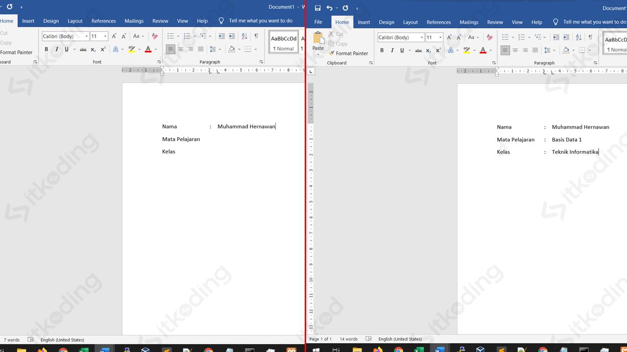 Tanda titik dua sejajar di ms word