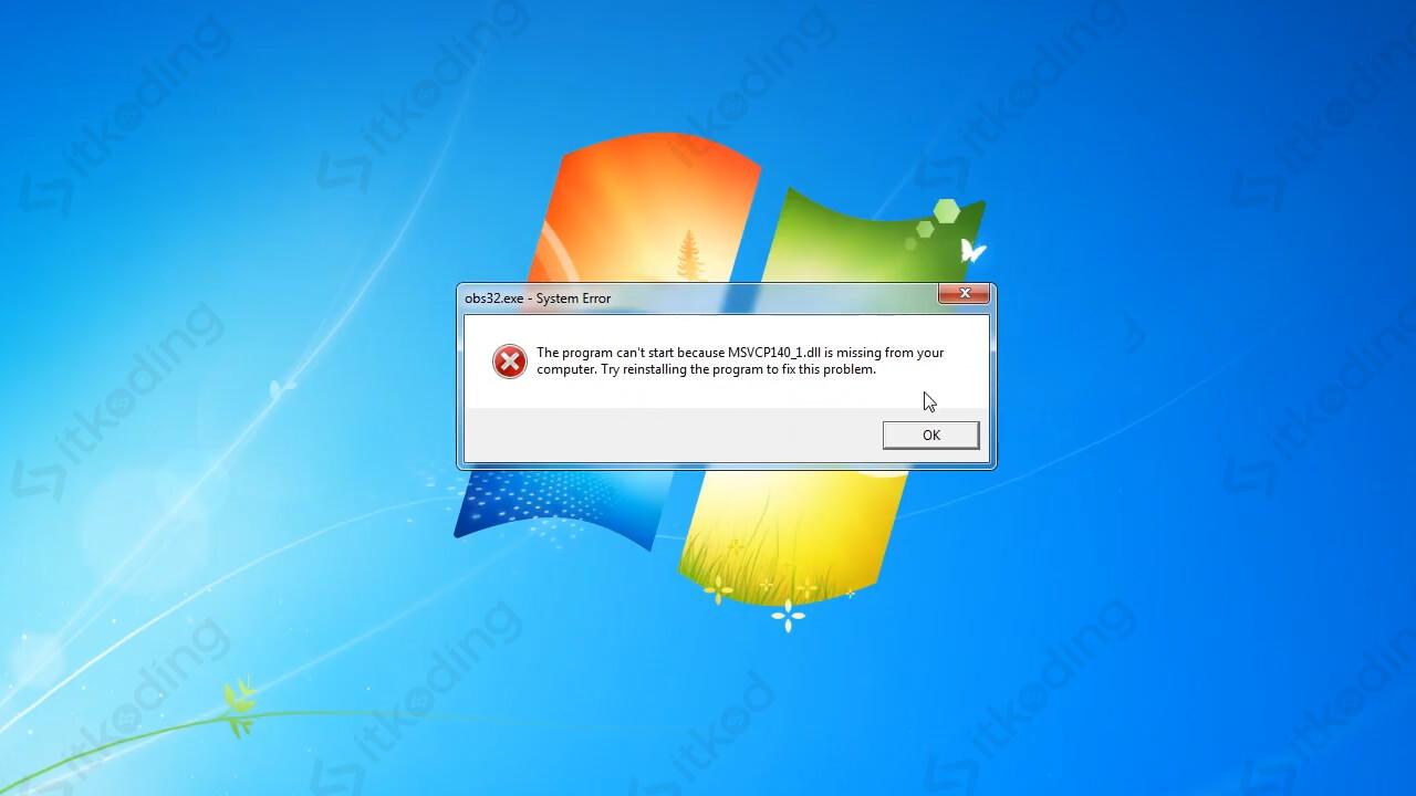 Tampilan error msvcp140.dll missing