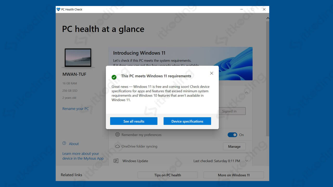 Hasil pc health check windows 11